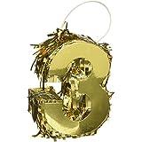 Amscan パーティーデコレーション ホイルナンバーミニピニャータ 3インチ パーティー用品 ゴールド 6 x 4 1/2 x 2インチ