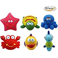 BabyPrice 6Pcs Baby Squirt Bath Toys BPA-free Bathtime Fun Tub Toys Sea Animals Shower Squirter Toys for Toddlers Kids. [並行輸入品]