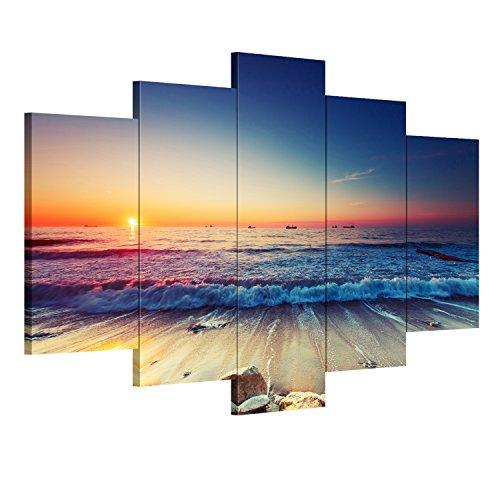 Royllent アートパネル モダン 現代 「海の景色」「夜明けの海」 キャンバス絵画 5パネルセット(木枠付きの完成品)
