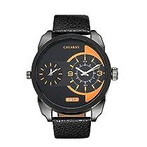 Cagarny元メンズスポーツレザーストラップ2ダイヤル作業できクオーツ腕時計6813ブラックオレンジ