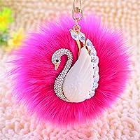Dalino ファッションとパーソナリティ 白鳥 メタル プラッシュボール キーチェーン ペンダント プラッシュドール キーリング キーチェーン (ローズレッド)