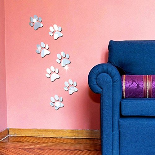 Sanwooden 7Pcs Cute Paws Mirror Wall Sticker Self-Adhesive Decals Removable DIY Home Decor - Silver