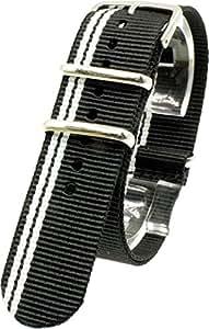 [2PiS] ( ブラック・ダブルホワイト(細線) : 20mm ) NATO 腕時計ベルト ナイロン 替えバンド ストラップ 交換マニュアル付 66-1-20