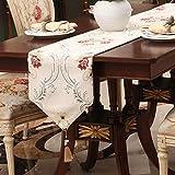 QY テーブルランナー テーブルランナー 印刷 テーブルランナー ヨーロピアンスタイル 現代の シェニール ダイニングテーブル コーヒーテーブル 準優勝 タペストリー布 タッセル付き QY テーブルランナー (Color : Beige, Size : 33*160cm)
