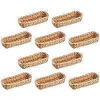 B級品 洗える カトラリーバスケット(ナチュラル) 抗菌樹脂製手作り籐風かご 約 W280×D115×H55(mm) 10個セット