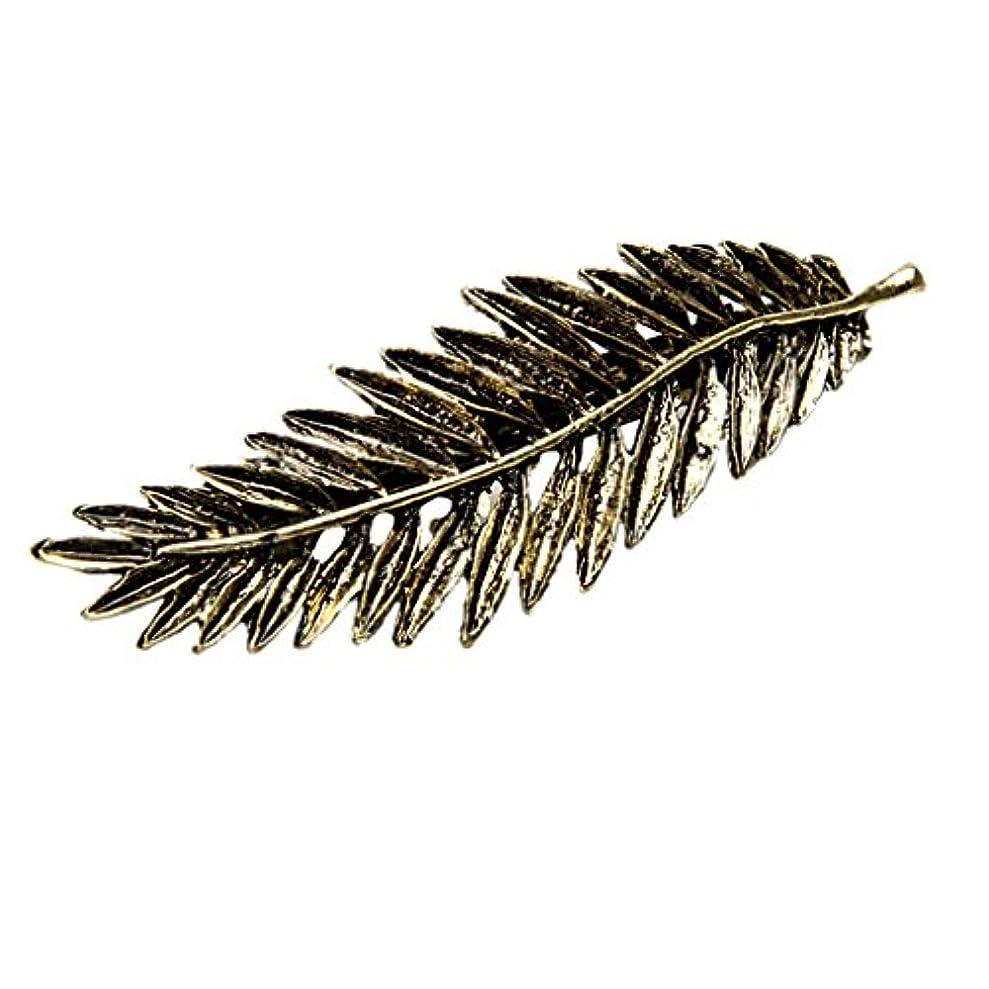 嫌なラジカル余韻SONONIA 合金製 クリップ 髪 ヘアピン 魅力的 葉 羽の形  取り扱い易い 7.5 x 2.3cm 全2色 - アンティークブロンズ