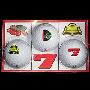 【エンタメゴルフ】スロット ゴルフボール (3球入り) [ゴルフコンペ 景品 賞品 ギフト プレゼントセットに] | エンタメゴルフ(コンペ賞品&ゴルフギフトのお店) | ゴルフボール 通販