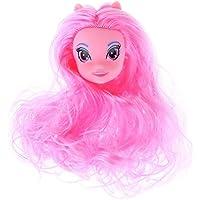 Domybest 人形頭 人形アクセサリー ウィッグ ヘア 人形ヘッド バービー ケーキ人形 魔女 エルフ DIY 玩具 ドール髪 かつら 鮮やか色 ボディアクセサリー キット 着せ替え人形パーツ ごっこ遊び キッズ 女の子 可愛い