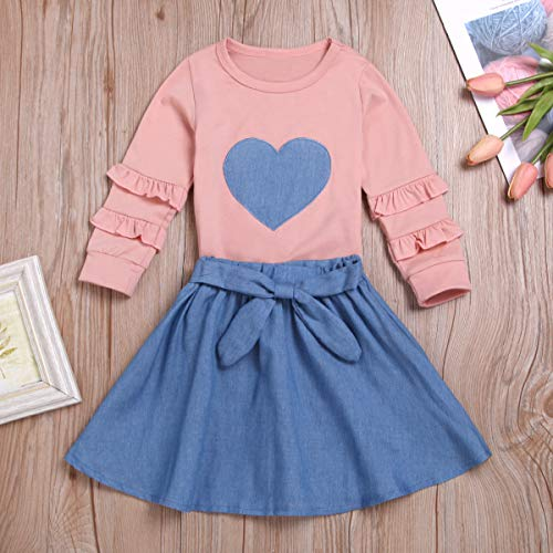 Happy Town Infant Toddle Girls Fall Outfits Ruffle Sleeves Pink Top+Bowknot Blue Skirt Dress Kids Clothing Sets (Pink, 12-18 Months)