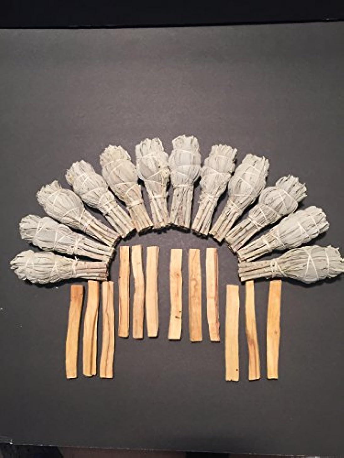 分泌するサンプル不承認24 pcs。12ホワイトセージ+ 12 Palo Santo Incense、Smudgeスティック、Spiritual Purification