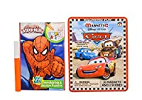Maven Gifts : The Amazingスパイダーマン2in1Invisible Ink andステッカーパズルwith Disney 's Cars旅行磁気Tin