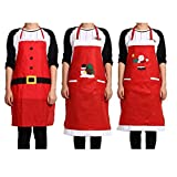 Generic Style 01 : 2 Pockets Christmas Red Apron Kitchen Shoulder Strap Sleeveless Home Aprons Christmas Dinner Party Aprons Christmas Accessory