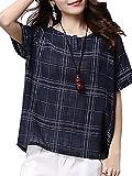 (リッチココ)richcoco レディース ブラウス 半袖 とろみシャツ チェック 格子柄 ゆったり トップス 紺色 M