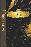 Ava Notebook: Personalised Custom named Journal Diary Sketchbook Gold  Gift for Family (110 Pages , Blank , 6 x 9)