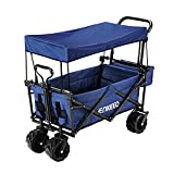 ENKEEO Foldable Utility Wagon Collapsible Sports Outdoor Cart with Removable Canopy, Large Capacity and Tilting Handle for Camping Beach Sporting Events Concerts (Blue)