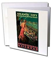 BLNビンテージ旅行ポスター–Vintage Atlantic City PRR旅行ポスター–Greeting cards-12グリーティングカード封筒付き(GC _ 126015_ 2)