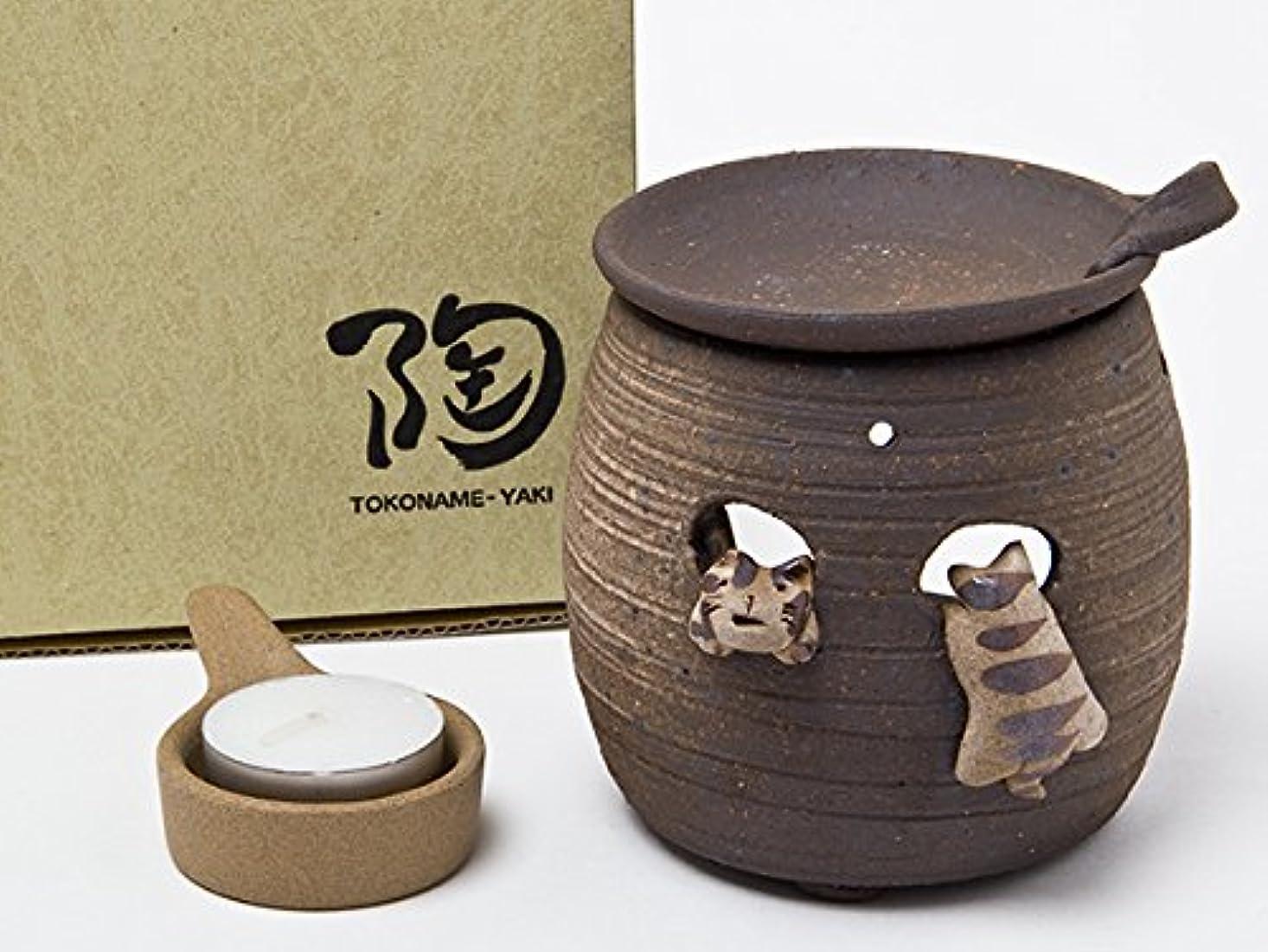 可動式踊り子医薬常滑焼 茶香炉 猫 セ1156