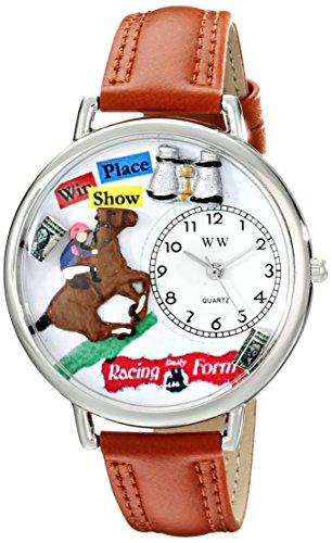 競馬 茶色レザー シルバーフレーム時計 #U0810017