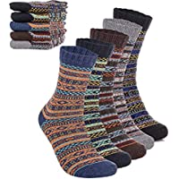 Mens Winter Warm Wool 5 pairs Crew Cute Socks Mixed Color