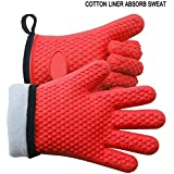 Silicone Oven Gloves, Food Grade Silicone and Cotton Double-Layer Heat Resistant JmYo BBQ Mitts, Free Size for Safe Cooking Baking & Frying at The Kitchen, BBQ Pit & Grill, Red