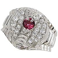 プレジュール スネーク リング コブラ メンズ ルビーリング K10ホワイトコーティング 蛇 指輪 リングサイズ22号