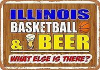 なまけ者雑貨屋 アメリカン 雑貨 ナンバープレート Illinois Basketball and Beer ヴィンテージ風 ライセンスプレート メタルプレート ブリキ 看板 アンティーク レトロ
