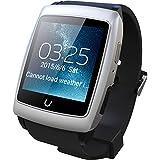 Uwatch 日本語システム対応  Bluetoothスマートウォッチ  Androidシステム内蔵RAM:4GB WIFIを接続ウォッチで独立動作可能 着信知らせ  GPS測位 目覚し時計等機能付きスマート腕時計 Androidスマートフォン対応 (シルバー)