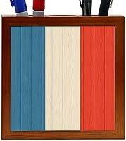Rikki Knight Saint Martin Flag on Distressed Wood Design 5-Inch Wooden Tile Pen Holder (RK-PH8777) [並行輸入品]
