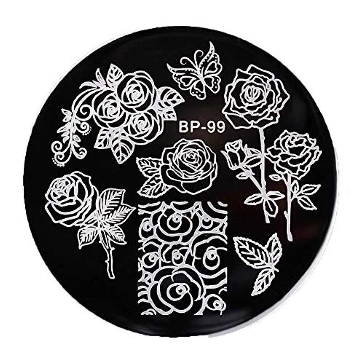 ニコチン乱暴な囲まれたBORN PRETTY 蝶*花柄 イメージプレートスタンピングプレートネイルアート5.5cm 丸い BP-99