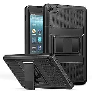 NEW-Fire HD 8 ケース - ATiC Fire HD 8 タブレット (第7世代、第8世代) 用カバー 全面保護型 耐衝撃 スタンドケース BLACK
