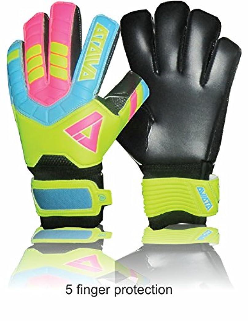 作成する平野座標Aviataライトクラブサッカー手袋( pink-yellowサイズ45指保存