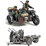 2 Sets of Tamiya Military Assembly Models - German Weapons - Motorcycle and Sidecar and 20 mm Quad Flak (Flakvierling) (Japan Import)
