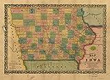 マップ: 1855のアイオワexhibiting the townships、都市、村投稿オフィス、鉄道、一般的な道路& Other improvements|iowa|