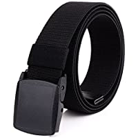 Mens Nylon Webbing Belt - Canvas Adjustable Casual Nickel Free Web Belt with Plastic YKK Buckle