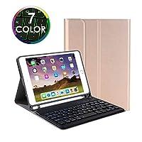 7色バックライト付き iPad mini 2019 mini 5 キーボード ケース ペンホルダー内蔵 7.9インチ アイパッド ミニ5 iPad mini 4 3 2 1 キーボード付き カバー 分離式 薄型 (iPadmini1/2/3/4/5, 金)
