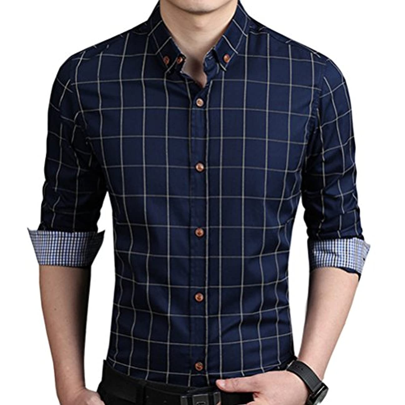 抽出拘束するコンペ輝姫 ブラウス  チェック柄  折り袖 長袖  ボタン  メンズ  シャツ カジュアル  ビジネス  スリム ファッション (L, ネイビー)