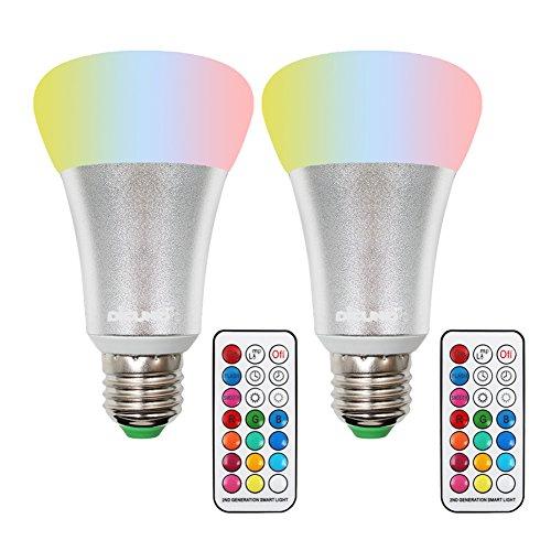 DiCUNO LED リモコン電球 カラー電球 調光調色可能 明るさを控える E26口金 10w 900lm 昼白色 RGB+W タイミング機能 2個入