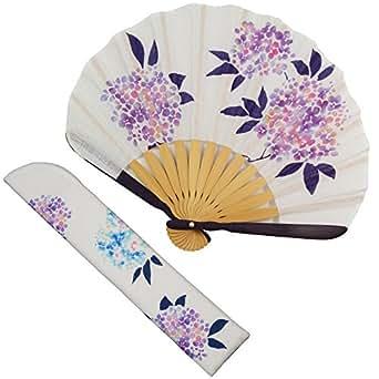 扇子 女性 扇子袋・ハンカチセット あじさい(白) 箱入り おしゃれ コットン 女性用 レディース 扇子