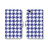 【ノーブランド品】 Fx0 LGL25 スマホケース 手帳型 千鳥模様 千鳥格子 千鳥柄 ブルー ホワイト 青 白 かわいい おしゃれ 携帯カバー LGL25 ケース 携帯ケース