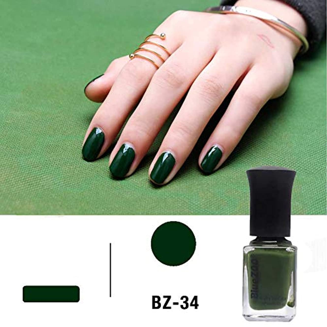 終点ピザ職業シャイニーネイルポリッシュ水溶性淡緑色ラッカーネイルアートワニスDIY 3色6ml (深緑)