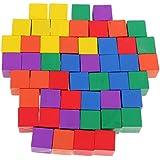 ノーブランド品 子供 カラフル 積み木 木製 正方形 キューブ クリエイティブゲーム おもちゃ DIY 知育 全2選択 - 50個