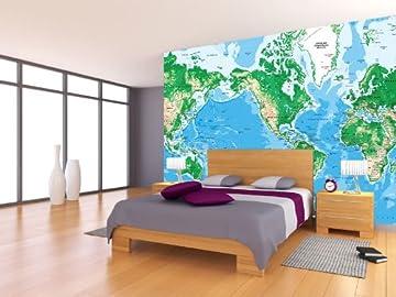 メルカトル世界Topographicマップ壁壁画、ピール&スティック、8-panel–166cm x 112cm