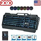 KLIM™ Lightning - New - Semi-Mécanique QWERTY Hybrid Keyboard Gamer Video Games Gaming Keyboard PC PS4 + 5-Year Warranty - Metal Frame - Choice of 7 Colours [ New 2020 Version ]