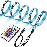 LUNSY(ランシー) LEDテープライト USB 1m PC ledテープ RGB テレビバックライト 5050SMD 両面テープ リモコン付 高輝度 切断可能 防水
