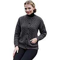 Irish Aran Wool Lumber Jacket Cardigan Sweater
