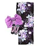 福袋 訳あり 浴衣3点セット ゆかた 作り帯 下駄 女性 牡丹鉄線黒×紫系 フリーサイズ