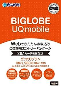 BIGLOBE UQ mobile ぴったりプランS エントリーパッケージ au対応SIM(ナノ/マイクロ/標準SIM/VoLTE) VEK52JYV