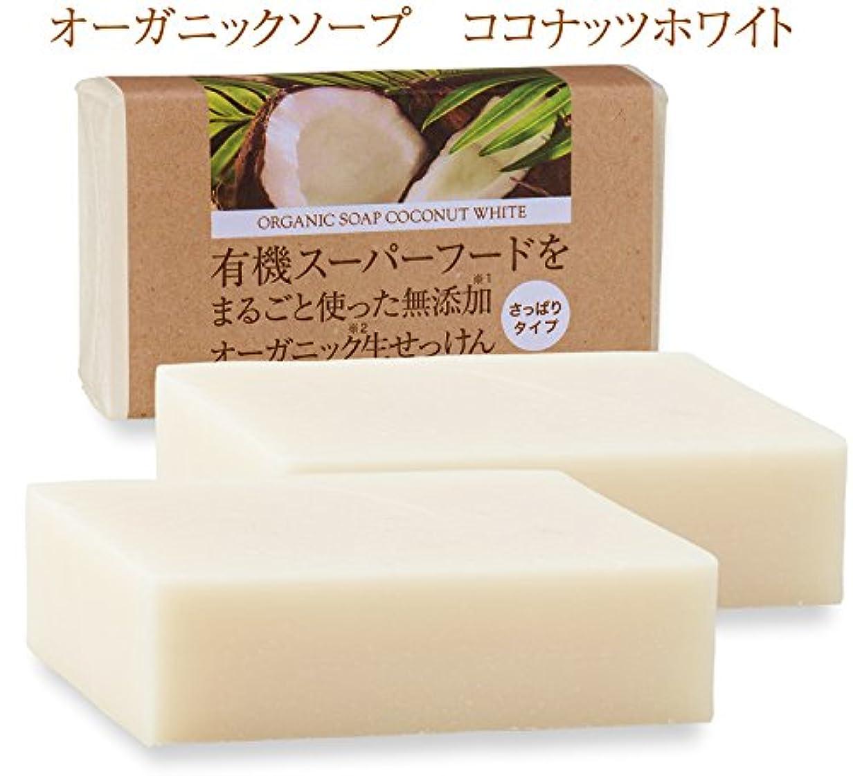 酸素まもなくスマッシュ有機ココナッツオイルをまるごと使った無添加オーガニック生せっけん(枠練)Organic Raw Soap Coconut White 80g 2個 コールドプロセス製法 (日本製)