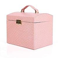 ポータブルジュエリーボックス、Puのレザージュエリーストレージボックス、翡翠ジェイドチェック宝石のストレージボックス、多層クリエイティブポータブルジュエリーボックスで囲まれたベルベットの布 Pink