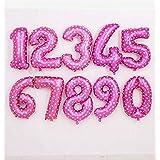 32インチ 数字バルーン 1 2 3 4 5桁 ヘリウムホイルバルーン ベビーシャワー 誕生日パーティー 結婚式の装飾用ボール ピンク 数字